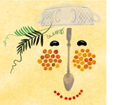 Gesicht aus Küchenuntensilien und Lebensmitteln EAT CLUB